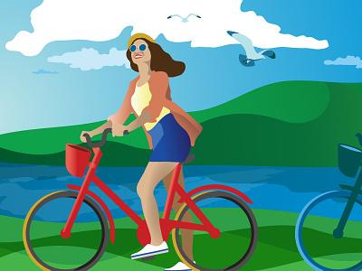 Biking in the Park happy sky sunny bicycle girl vector illustrator illustration