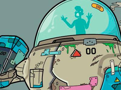 Robot on the edge magazine vector illustration