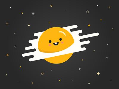Egg-licious kawaii illustration stars space yolk egg