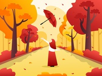 Red hooded girl and autumn dusk