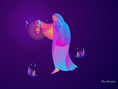 The Hermit gradient zodiac tarot flat vector design illustration