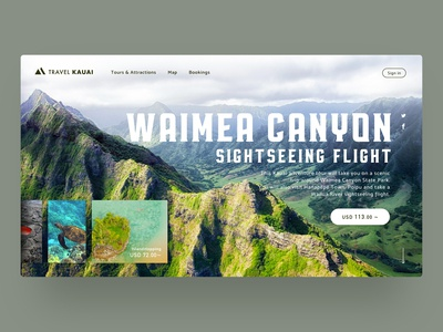 Landing page of a tour company