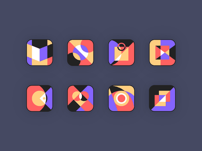 Abstract Icon Set dishes health games movies shopping sports reading icon illustration ui ui design logo