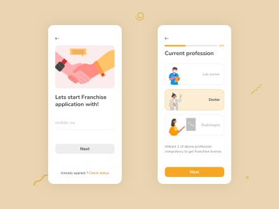 BeLab Franchise application form input select get started onboarding college radiologist labor doctor covid healthcare medical science colorful illustration interaction app design minimal easy airy