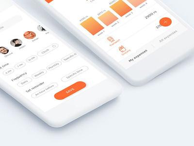 Expenses & Todo Management App app design airy easy minimal flatmates management simple todo expense app ui