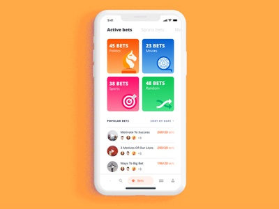Betting App sorting icons numbers unique navigation movies politics sports bold colorful betting bitcoin illustration app ui interaction app minimal easy app design airy