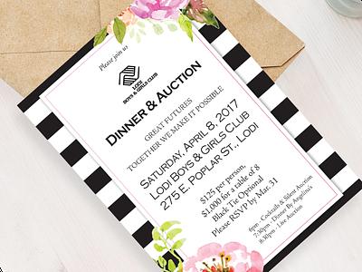 Fundraiser invitation floral print invitation
