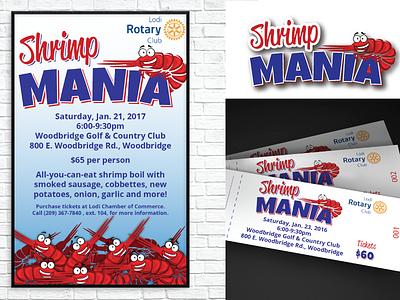 Event Promotion - Shrimp Mania tickets invitation logo print poster