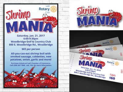 Event Promotion - Shrimp Mania tickets invitation logo print poster