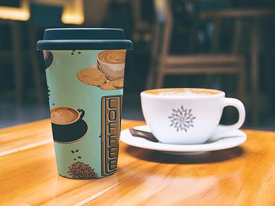 Coffee Shop pattern pattern mug cookie espresso coffee