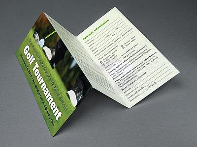 Golf Tournament Brochure tri-fold green print golf brochure