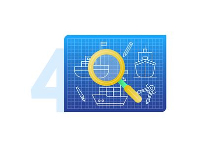 4. Inspection blueprint design ship inspection illustration