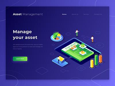 Asset Management Landing Page isometric management asset ui landing page illustration
