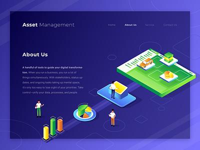 Asset Management - About Us management isometric illustration ui landing page