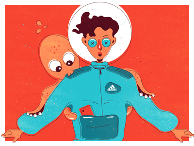 Crazy Happy New Year Party astronaut octopus graphic design new year crazy character flat illustrator party 2d illustration