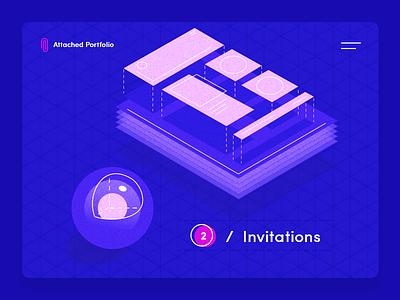 2 Dribbble Invites graphic design web dribbble invites 2d illustration illustrator invite blue isometric