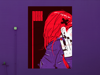 Neck Poster female punk violet poster art poster grapgic design illustrator neck vector design illustration 2d