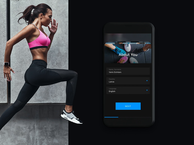 App Rexona 5000 steps fitness counter sport mobile app designs android ios app web layout 2d ux ui design