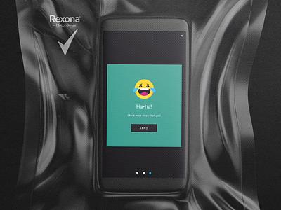 Rexona 5000 Steps App Emoji Reaction sport rexona reaction emoji 2d vector webdesign gif illustration design illustrator layout ux ui