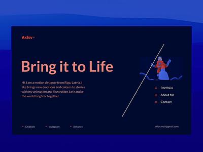 Portfolio Intro responsive motion readymag portfolio design ux ui typography illustration website webdesign layout web design