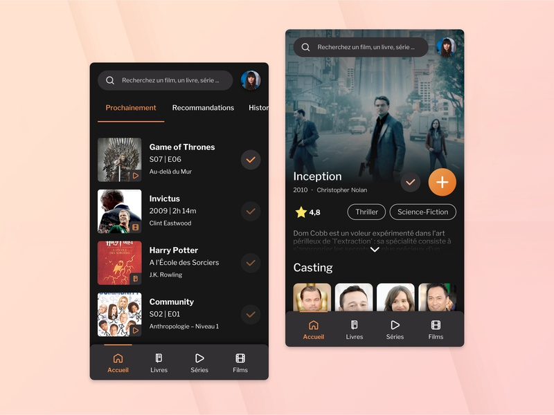 Library Manager App - 2h30 challenge color orange app mobile ui design ui dark mode check add books series tv shows movies library application mobile app