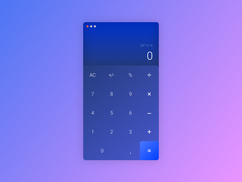 Daily UI Challenge #004 - Calculator uidesign ui gradient sketchapp calculator macos mathematics desktop design dailyuichallenge dailyui 004