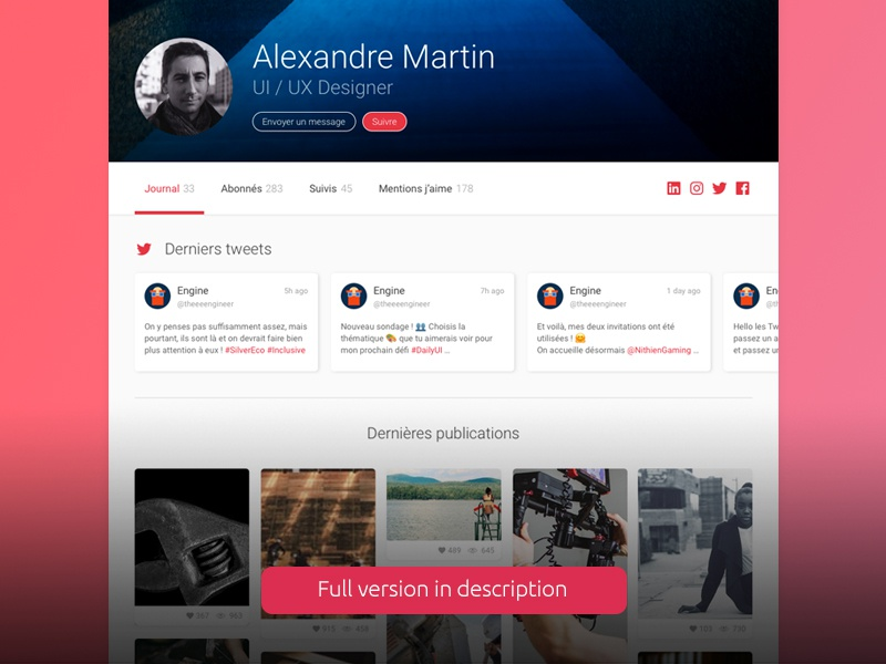 Daily UI Challenge #006 - User Profile uidesign ui challenge desktop sketchapp user profile design dailyuichallenge dailyui webdesign 006