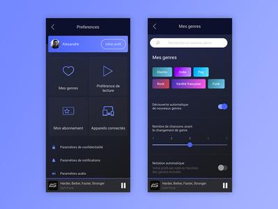 Daily UI Challenge #007 - Settings smartphone uidesign ui sketchapp settings music app mobile design dailyui challenge 007