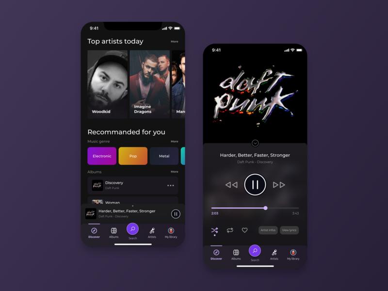 Original Music App mobile dark ui application design ui music