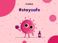 Stay safe stay home stayhome bigeyes grainy texture ipad pro ipadpro procreate app procreateapp procreate staysafe pink coronavirus corona virus clean design apple illustration simple