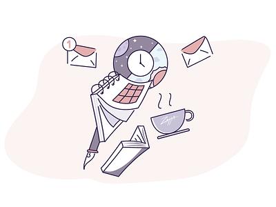 Piling up schedule mail elements wacom apple pictogram design illustration vector simple