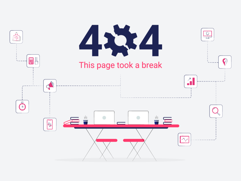 Keyvision 404 404 error page 404 404 error magenta site 404 page icons set elements clean illustration design vector simple