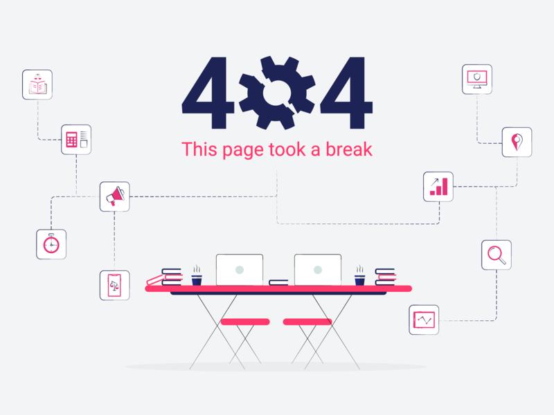 Keyvision 404 404 error page 404 404 error magenta site 404 page icons set elements clean illustration design vector simple