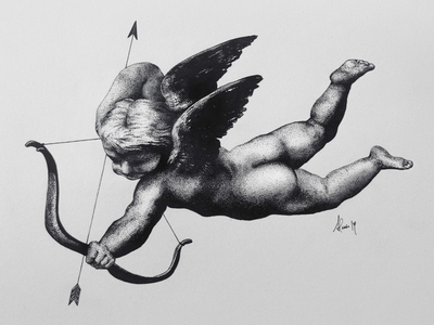 Drunk Cherub illustration art arrow cherub drawing traditional