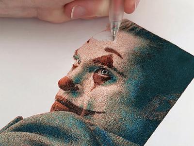 Joker 2019 joaquin phoenix joker hand drawn portrait portfolio pointillism pointilism penart inkdrawing inkart drawing traditional