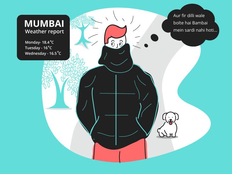 Winter in mumbai weather chill chilly cold graphic design vector art graphicdesign design graphic illustration winter bombay mumbai