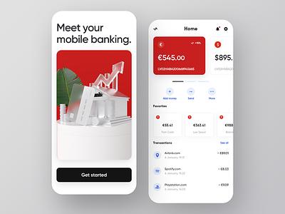 Mobile Banking data product typography banking app banking bank 3d illustration visualization ux design ui