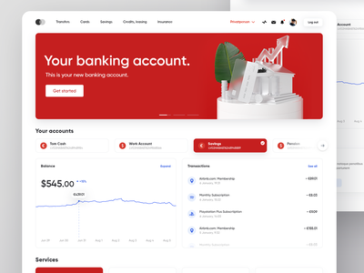 Banking Account Web App web design web banking dashboard banking website banking app banking 3d illustration visualization ux design ui