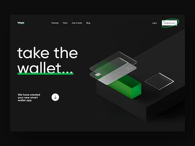 Ulight Promo Page cardboard website landing page wallet app wallet web product dribbble 3d illustration visualization ux design ui bank banking bank app bank card card