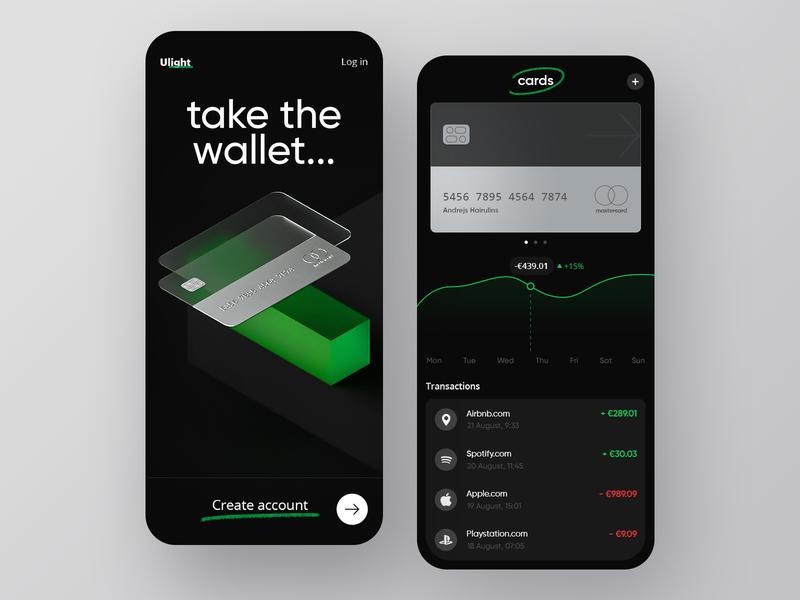 Ulight Wallet App walletapp wallets wallet ui data banking bank app bank card bank card wallet 3d illustration visualization ux design ui