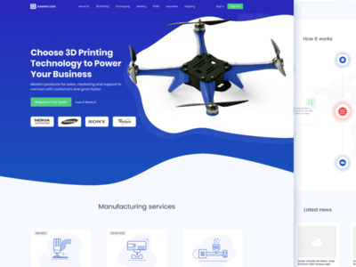 CAD Printing Services Web Page Design fireart fireart studio isometric illustration 3d services web design visualization ux ui drone 3d printing
