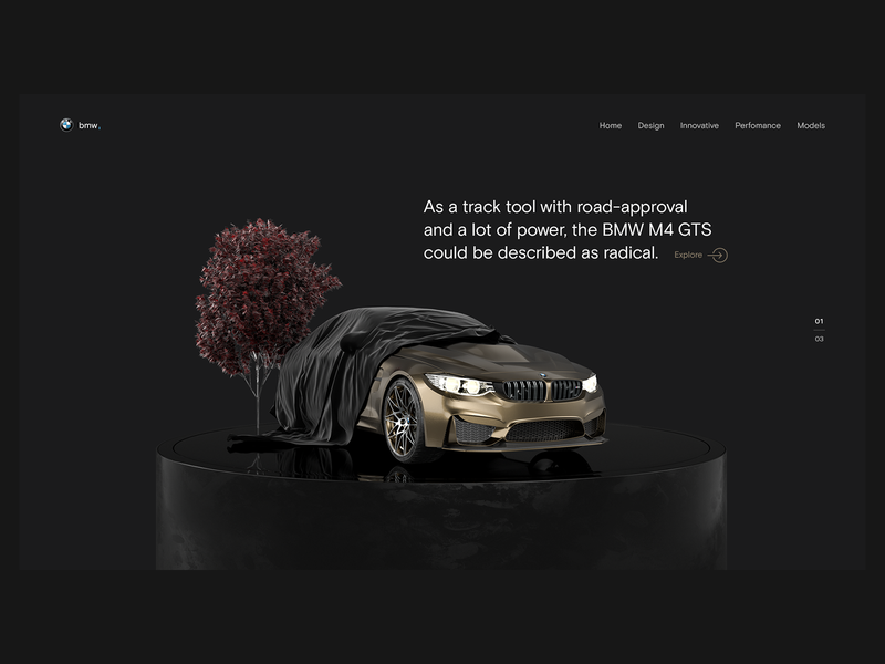 BMW M4 GTS Main Page product logo branding illustration web design 3d visualization design ux ui