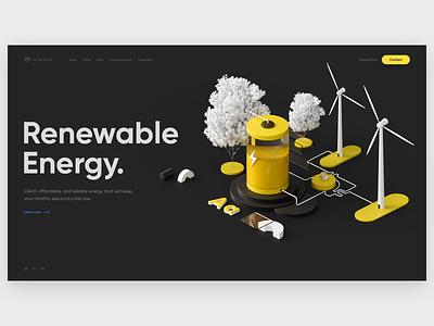 Solar Wind branding product web design isometric 3d illustration visualization design ux ui