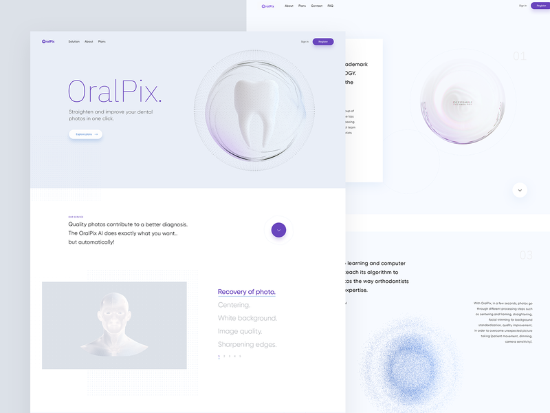 Oralpix - Straighten and imrove your dental photos web design web dribbble isometric 3d illustration visualization design ux ui