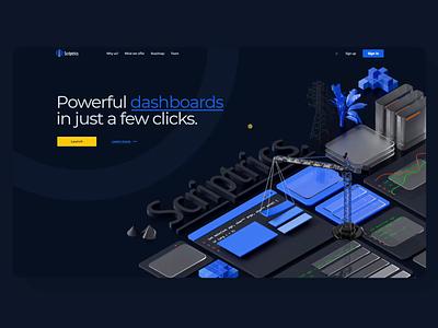 Scriptrics Dark Mode Interactions landing web design dribbble isometric 3d illustration visualization design ux ui