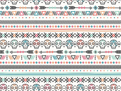 Tribal ethnic seamless pattern day of the dead aztec maya print skull background vector mexican tribal ethnic seamless pattern