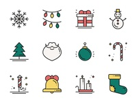 New Year Line Icons Set xmas santa outline flat christmas vector set line year new icon