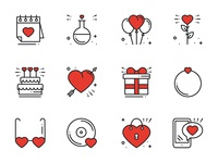Love Line Icons Set wedding romance valentine valentines day heart 14 february vector set line icon flat love