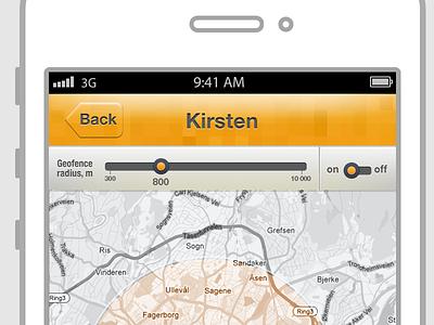 app concept navigation map sliders radius