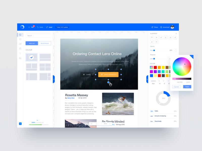 The design page graphic design tool. app web ux ui design